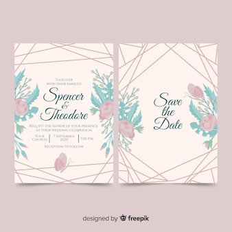 Flowers and lines wedding invitation template