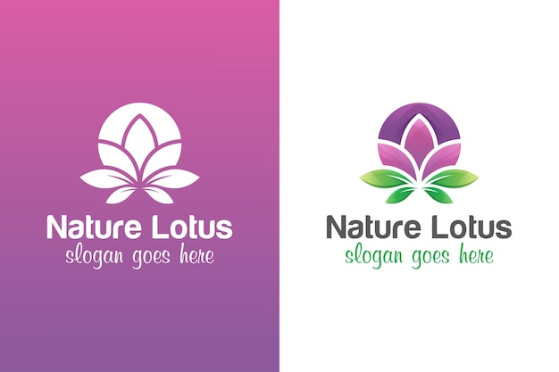 Flowers lotus logo design with two versions
