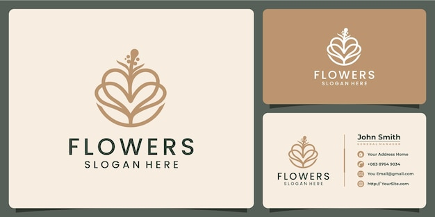 Flowers luxury logo and business card