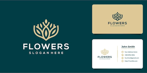 Flowers luxury logo design and business card