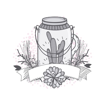 Flowers in mason jar with ribbon banner drawing design