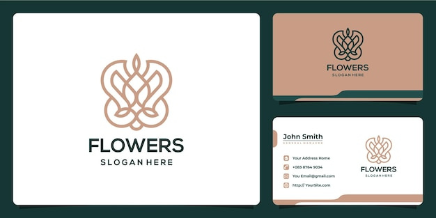 Flowers monoline luxurious logo design and business card