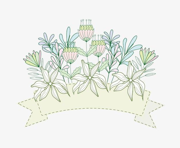 꽃 자연 리본