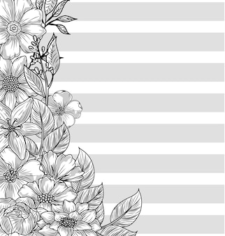 Flowers nature sketch stripes background