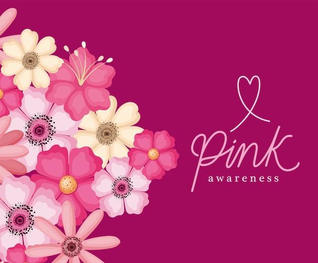 Цветы розового дизайна осведомленности, рак груди и тема кампании