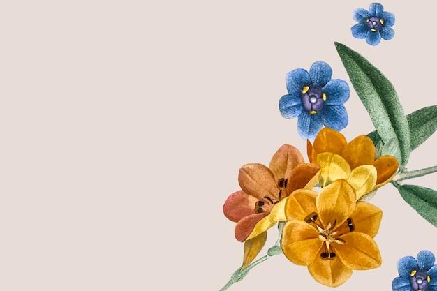 クリーム色の背景に花