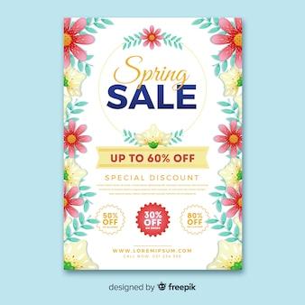 측면 봄 판매 포스터에 꽃