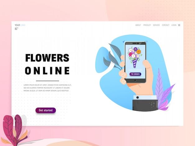 Flowers online - landing page or website template. modern flat design.