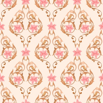 Flowers ornament seamless pattern for wallpaper or wall murals