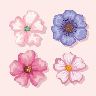 花の絵画セット、自然の花の自然植物飾り庭の装飾と植物学のテーマのイラスト