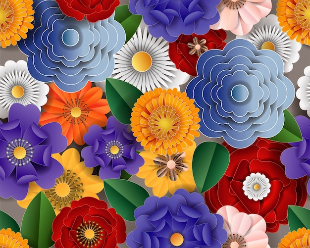 Flowers paper cut colorful on seamless pattern