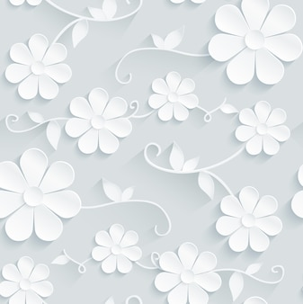 Flowers pattern daisy on gray background