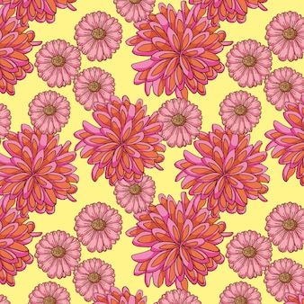 Flowers pattern hand drawn.
