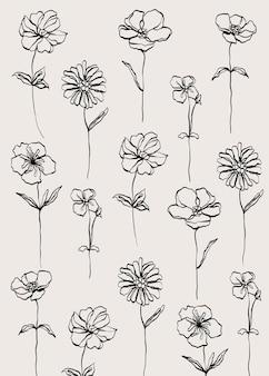 벽 장식 엽서 배너 또는 브로셔에 대한 꽃 패턴 라인 현대 최소한의 배경