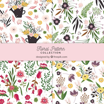 Flowers patterns collection in hand drawn style