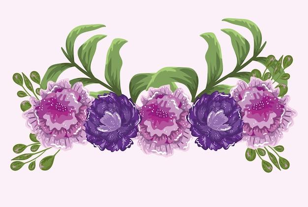 花ピンクと紫の葉植物自然イラスト絵画
