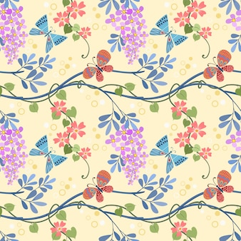 Flowers plant and butterfly seamless pattern can use for fabric textile wallpaper.