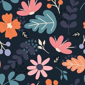 花、植物、ベリー。紺色の背景にフラットなスタイルでシームレスなパターンをベクトルします。