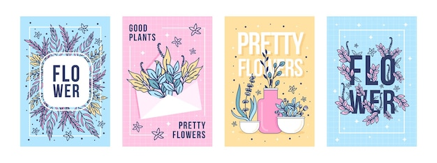 Flowers and plants posters set