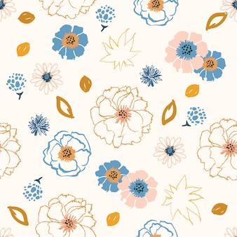 Flowers pop art line brush  seamless pattern vector
