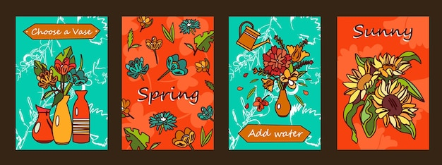 Flowers posters set. bunches in vases, blossoms  illustrations with text on orange and green background.