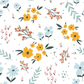 꽃 인쇄 디자인 패션 직물 섬유 그래픽 프리에 대 한 원활한 벡터 일러스트 레이 션 디자인