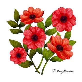 꽃 빨간 양귀비 꽃다발 그림