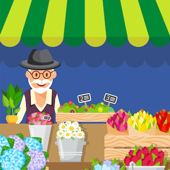 Flowers sale business flat vector illustration