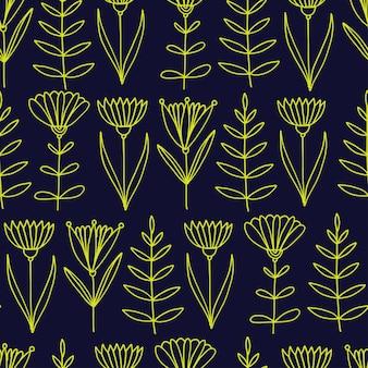 Flowers seamless pattern. hand drawn nature