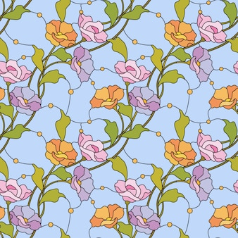 Flowers seamless pattern stained glass style.