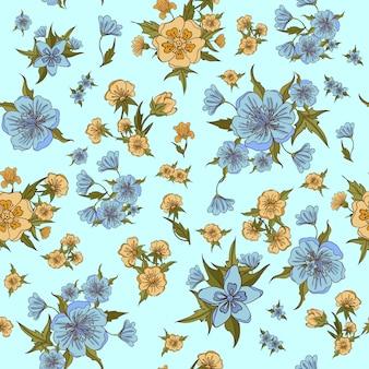 Цветы бесшовные модели. винтажные цветы. векторная иллюстрация