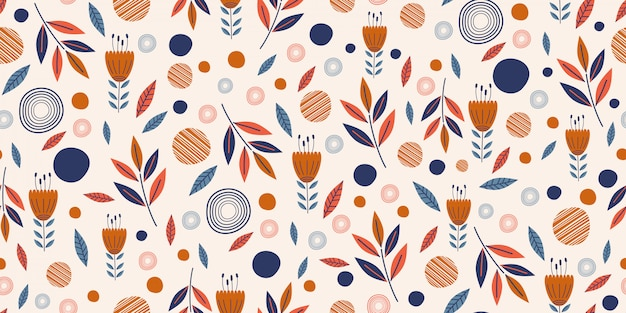 Flowers seamless pattern with cute hand drawn scandinavian garden