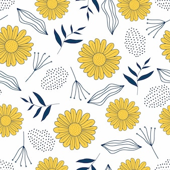 Flowers seamless pattern with hand drawn style