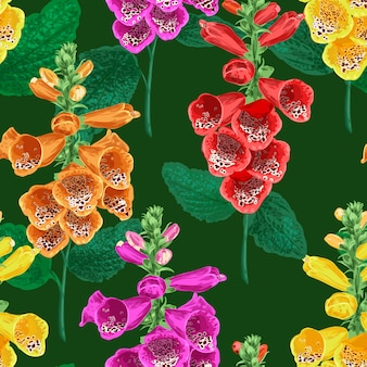 Flowers seamless pattern with tiger lily flower