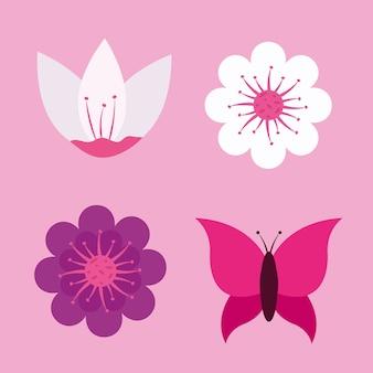 花セットと蝶のデザイン、自然の花の自然植物飾り庭の装飾と植物学のテーマ。