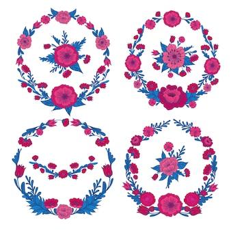 Flowers set floral frames