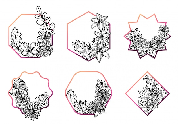 Flowers set hand drawing and sketch black and white