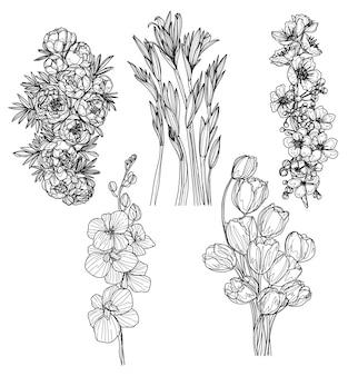 花は、黒と白の描画を手スケッチを設定します