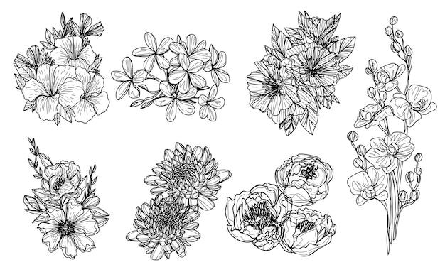 花は白黒で描く手スケッチを設定します
