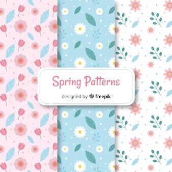 Flowers spring pattern set
