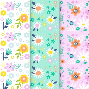 Flowers of spring season seamless pattern collection
