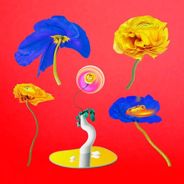 Set di arte astratta colorata psichedelica di vettore di adesivi di fiori