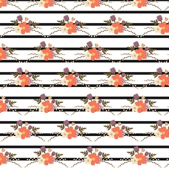 Flowers and stripe pattern background