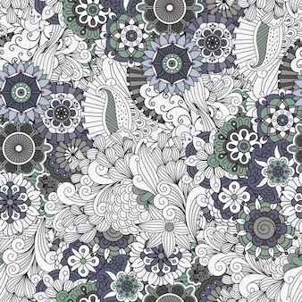 Flowers and swirls decorative pattern