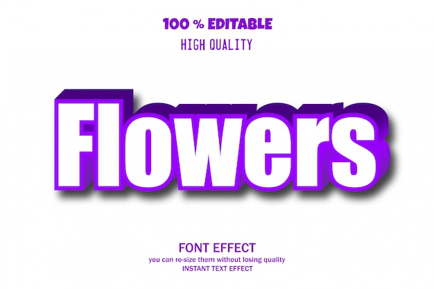 Flowers text, editable font effect
