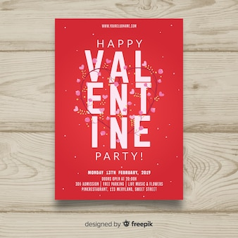 Flowers valentine party poster