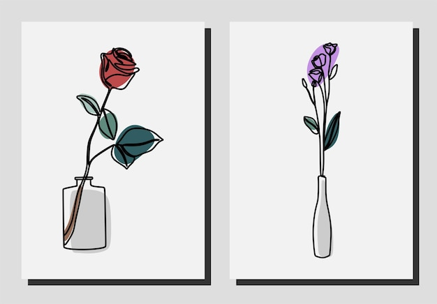 Flowers in a vase oneline continuous line art set premium vector