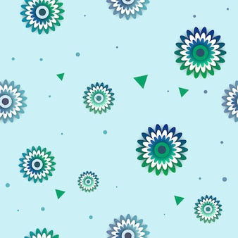 Flowers vector pattern with circle.