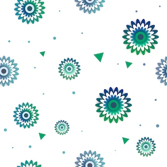 Flowers vector pattern with triangle