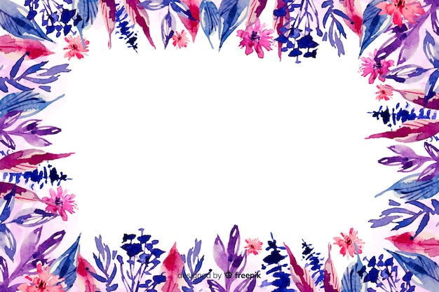 Flowers in violet shade watercolour floral background